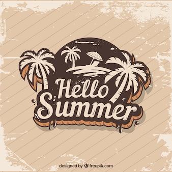 Priorità bassa di estate dell'annata con l'autoadesivo della palma