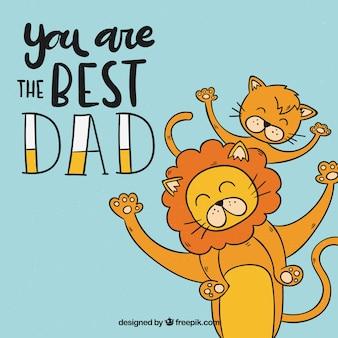 Priorità bassa di festa del papà con la famiglia di leoni
