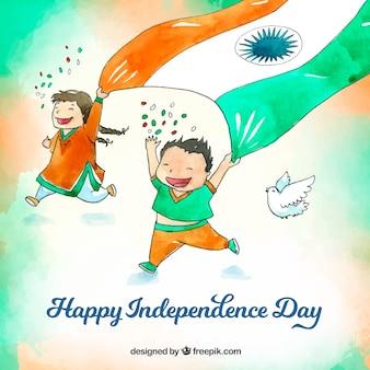 Priorità bassa di festa dell'indipendenza indiana dell'acquerello con bambini felici