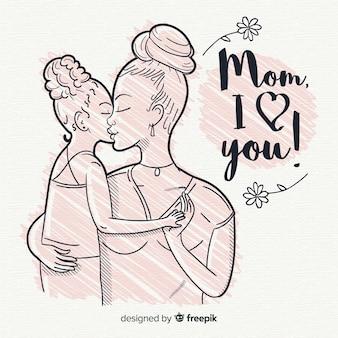 Priorità bassa di festa della mamma disegnata a mano
