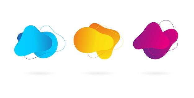 Priorità bassa di forma liquida di vettore astratto gradiente. fluida collezione di forme colorate