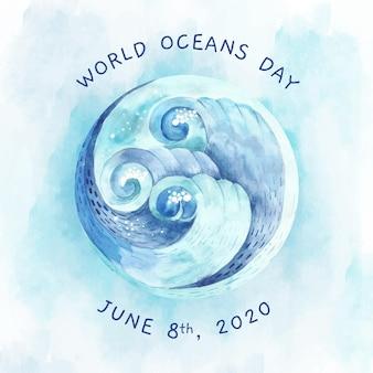 Priorità bassa di giorno degli oceani del mondo dell'acquerello