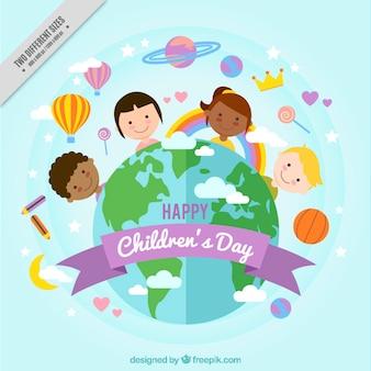 Priorità bassa di giorno dei bambini con il mondo nel design piatto