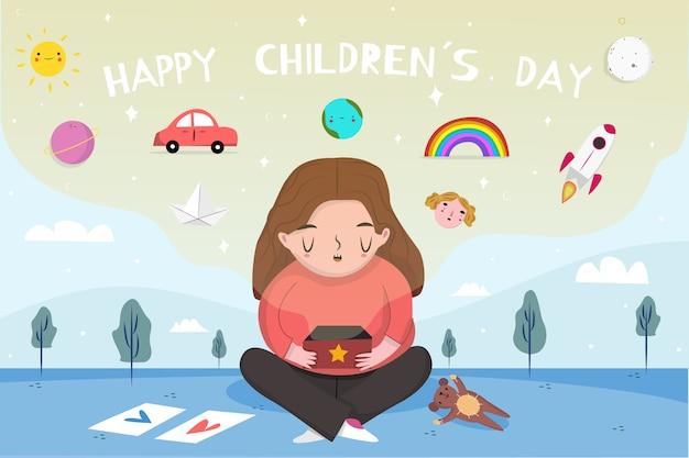 Priorità bassa di giorno dei bambini disegnati a mano con ragazza