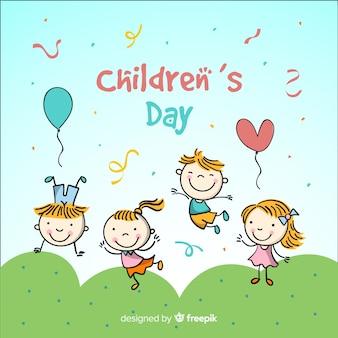 Priorità bassa di giorno dei bambini disegnati a mano per bambini
