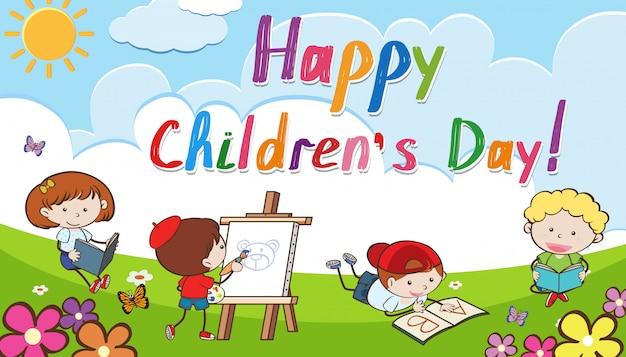 Priorità bassa di giorno dei bambini felici