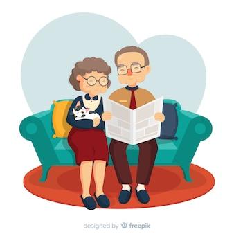 Priorità bassa di giorno dei nonni in salotto