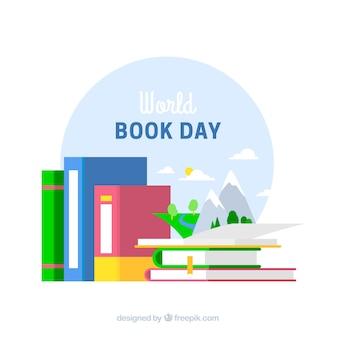 Priorità bassa di giorno del libro del mondo in design piatto