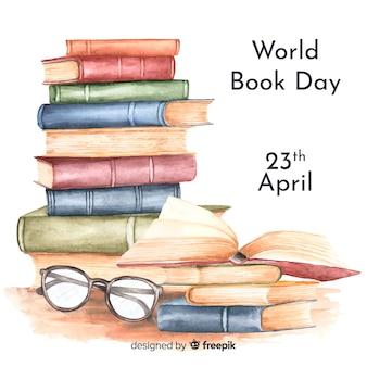 Priorità bassa di giorno del libro di mondo dell'acquerello