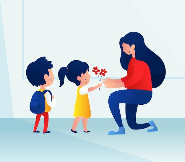 Priorità bassa di giorno dell'insegnante con i bambini che danno fiore al suo insegnante