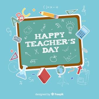 Priorità bassa di giorno dell'insegnante del mondo con elementi lavagna e scuola