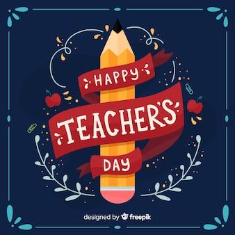 Priorità bassa di giorno dell'insegnante mondo felice con lettering