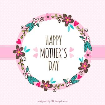 Priorità bassa di giorno della mamma con corona di fiori disegnati a mano