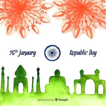 Priorità bassa di giorno della repubblica indiana dell'acquerello