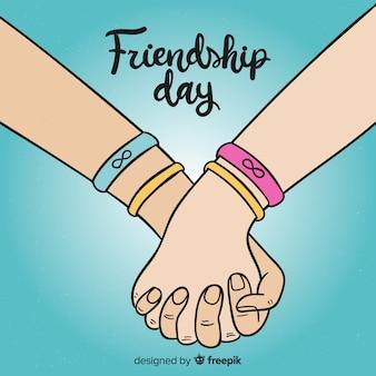Priorità bassa di giorno di amicizia disegnato a mano