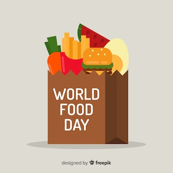 Priorità bassa di giorno di cibo del mondo con fast food