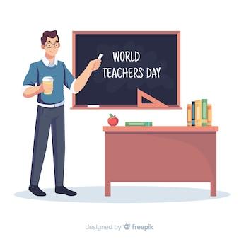 Priorità bassa di giorno di insegnante di design piatto mondo