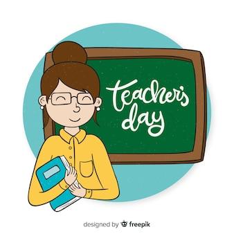 Priorità bassa di giorno di insegnante di mondo disegnato a mano