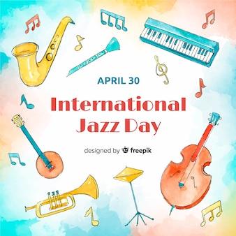 Priorità bassa di giorno di jazz internazionale dell'acquerello