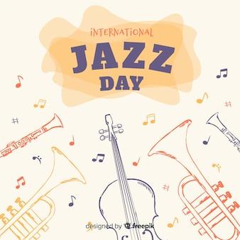 Priorità bassa di giorno di jazz internazionale disegnato a mano