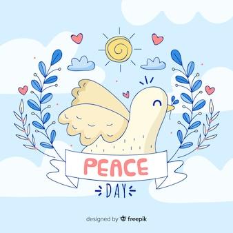 Priorità bassa di giorno di pace disegnata a mano con colomba