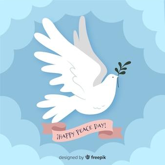 Priorità bassa di giorno di pace piatta con colomba