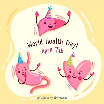 Priorità bassa di giorno di salute del mondo disegnato a mano