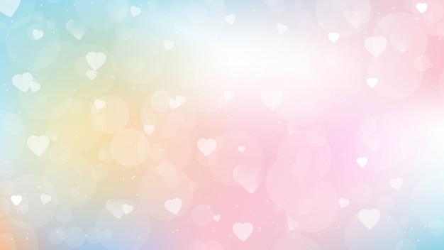 Priorità bassa di gradiente della caramella dolce con il bokeh del cuore per la dimensione dello schermo della pagina web di giorno di biglietti di s. valentino