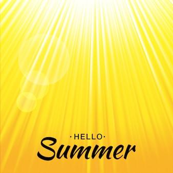 Priorità bassa di incandescenza gialla di estate con i raggi del sole