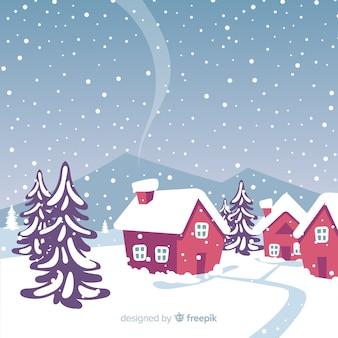 Priorità bassa di inverno del paesaggio di snowy