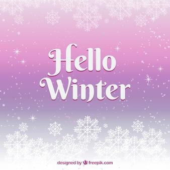 Priorità bassa di inverno lilla con fiocchi di neve
