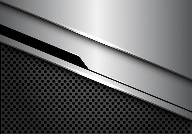 Priorità bassa di maglia di cerchio grigio sovrapposizione futuristica nero d'argento.