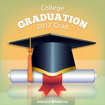 Priorità bassa di mortarboard con il diploma