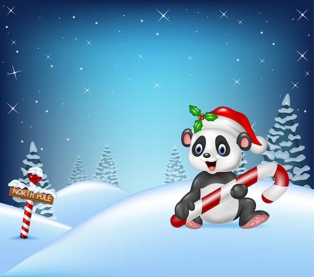 Priorità bassa di natale del fumetto con la caramella della holding del panda