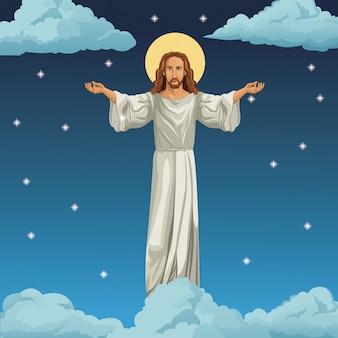Priorità bassa di notte di immagine religiosa di gesù cristo