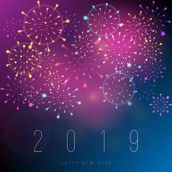 Priorità bassa di nuovo anno 2019 fuochi d'artificio realistico