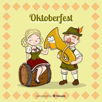 Priorità bassa di oktoberfest con la celebrazione delle coppie