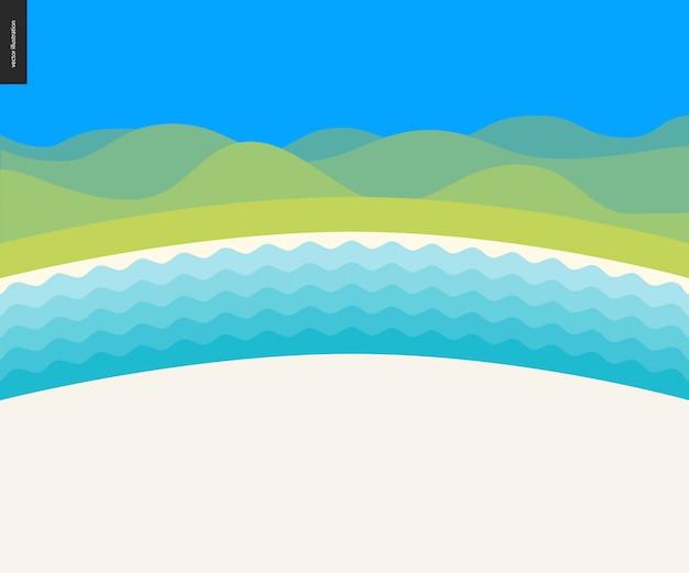 Priorità bassa di paesaggio della spiaggia di estate