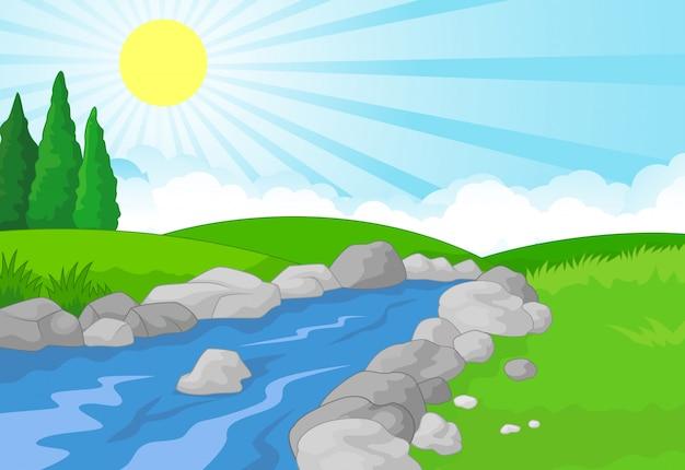 Priorità bassa di paesaggio di natura con prato verde, montagna e fiume