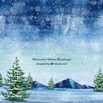 Priorità bassa di paesaggio di snowy con alberi