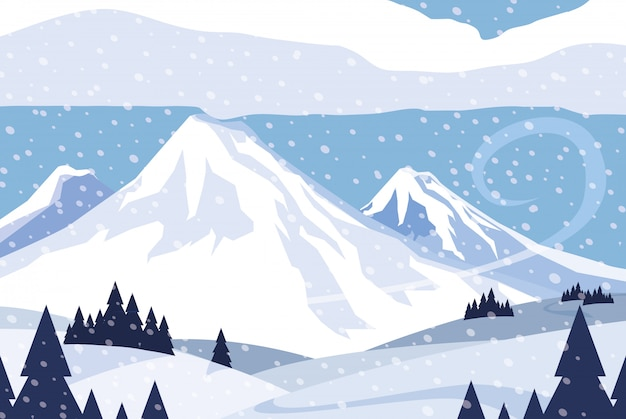 Priorità bassa di scena della natura di snowscape