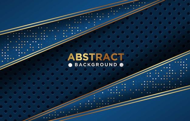 Priorità bassa di sovrapposizione di lusso blu navy astratta con combinazione di maglia cerchio e punti dorati incandescente