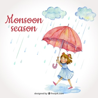 Priorità bassa di stagione dei monsoni con la ragazza