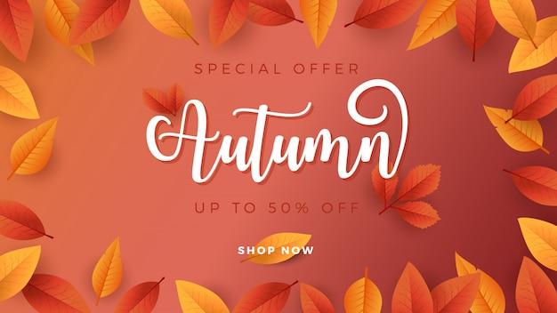 Priorità bassa di stagione di autunno per la bandiera di promozione di vendita