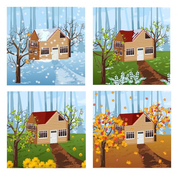 Priorità bassa di stagioni di casa di legno