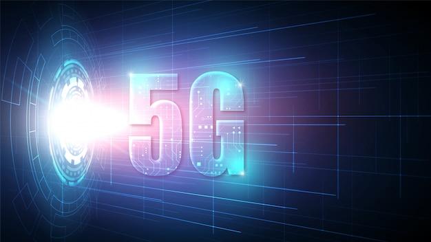 Priorità bassa di tecnologia del circuito di velocità 5g con sistema di connessione dati digitale hi-tech e computer elettronico