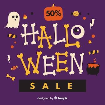 Priorità bassa di vendita di halloween con lettering