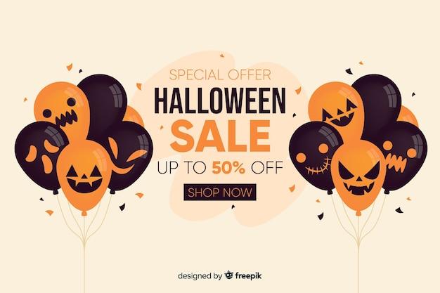 Priorità bassa di vendita di halloween con palloncini in design piatto