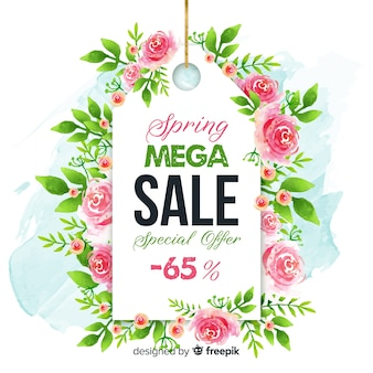 Priorità bassa di vendita di primavera etichetta rosa
