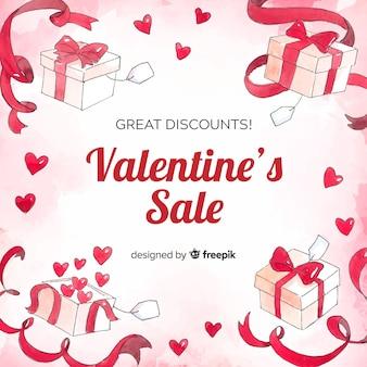 Priorità bassa di vendita di san valentino regali dell'acquerello